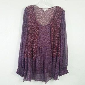 CAbi Semi Sheer Pleated Blouse Shirt Top